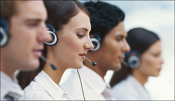 people in call center headsets