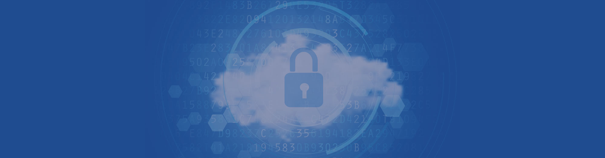 Secure Padlock in Cloud Blue Background