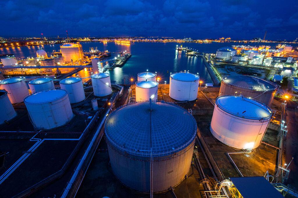 Industrial Storage Tanks Evening